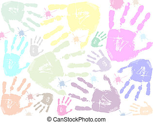 impressão, coloridos, fundo, mão