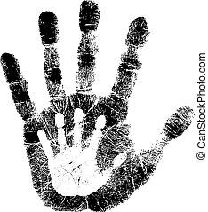 impressão, criança, adulto, mão