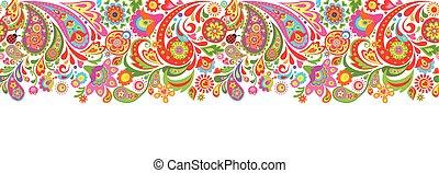 impressão, decorativo, flores coloridas, seamless, abstratos, borda