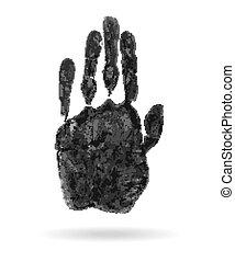 impressão, mão