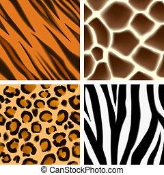 impressão, padrões, seamless, animal