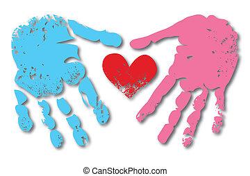 impressão, par, mulher, homem, mão