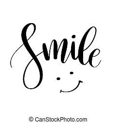 impressão, phrase., citação, teia, caligrafia, inspirational, desenho, posters., tipografia, mão, desenhado, smile., cartaz, modernos, lettering