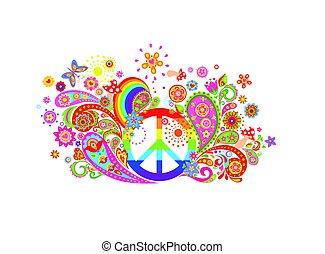 impressão, símbolo, flores, t-shirt, hippie, coloridos, paz, abstratos, arco íris