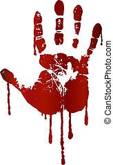 impressão, sangrento, mão