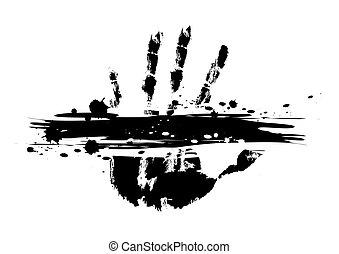 impressão, splatter, mão, tinta