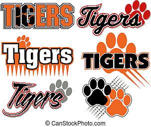 impressão, tigres, projetos, pata