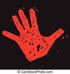 impressão, vermelho, mão