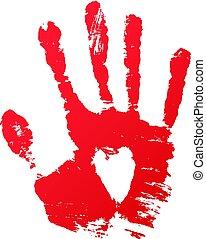 impressão, vetorial, sangue, mão