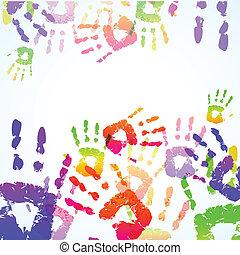 impressões, coloridos, fundo, mão