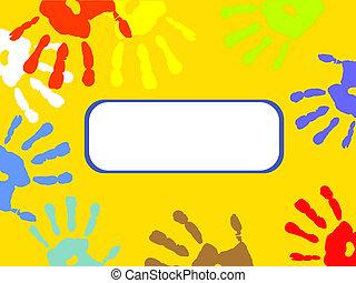 impressões, coloridos, mão