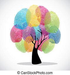 impressões, dedo, diversidade, árvore