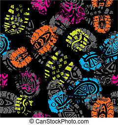 impressões, foots, padrão, seamless, vetorial, criança