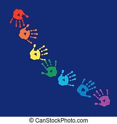 impressões, fundo, colorido, abstratos, mãos