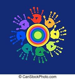 impressões, gama, cartão, palmas, saudação, cor