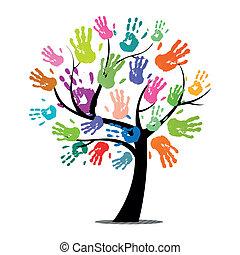 impressões, vetorial, árvore, coloridos, mão