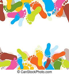 impressões, vetorial, criança, foots