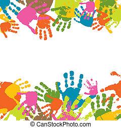 impressões, vetorial, criança, ilustração, mãos