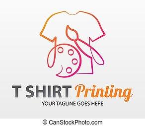 imprimindo, identidade, concept., colorido, impressão, cmyk, tshirt, oficina, incorporado, paleta, abstratos, logotipo, etc., printing., tipografia, t-shirt, marcar, modelo, vetorial, modernos, serigraphy, fábrica