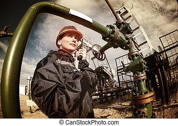 indústria óleo, gás, worker.