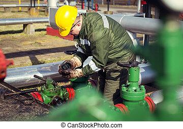 indústria óleo, trabalhador, gás