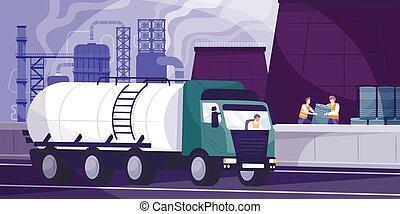indústria, fundo, ilustração, óleo