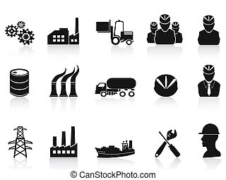 indústria, jogo, pretas, ícones