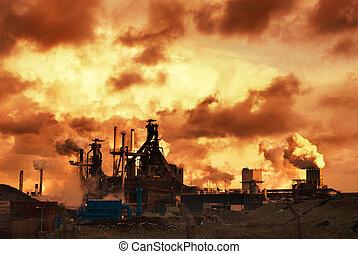 indústria, pôr do sol