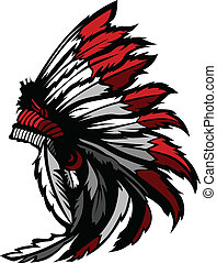 indian americano, nativo, cabeça, pena