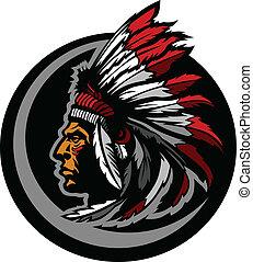 indian americano, nativo, chefe, mascote