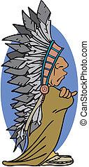indianas, mascote, chefe