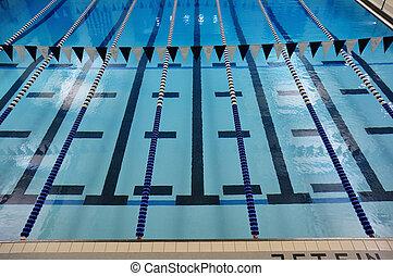 indoor, pistas, piscina, natação