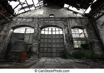 industrial, abandonado, interior