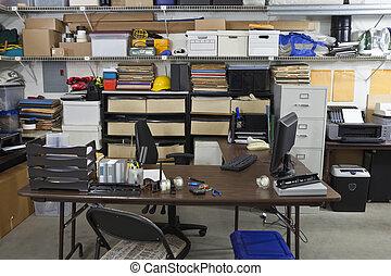 industrial, escritório, untidy