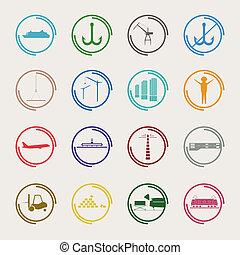 industrial, logistic, ícones, cor