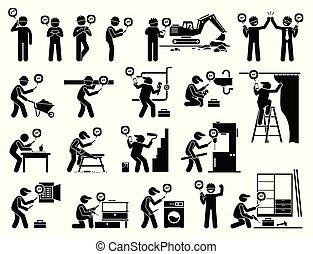 industrial, móvel, app, trabalhador, construção, usando, smartphone.