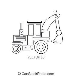 industrial, tractor., desenho, edifício., power., engineering., -, textura, style., apartamento, road., business., ilustração, machinery., construção, diesel., linha, ícone, wallpaper., seu, vetorial, maquinaria