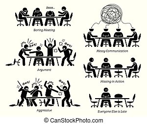 ineficiente, discussion., tendo, ineficaz, reunião, executivos