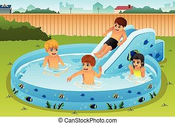inflável, crianças, piscina, tocando