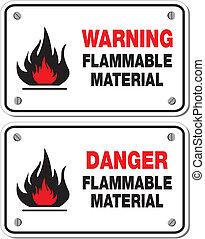 inflamável, material, aviso