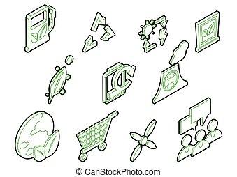 info, conceito, jogo, ícones, eco, ilustração, gráfico