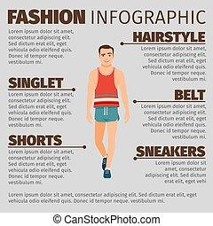 infographic, estilo, moda, desporto, homem