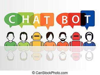 infographic, inteligência, chatbot, artificial, conceito