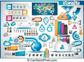 infographic, jogo, etiquetas, -, papel, elementos
