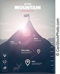 infographic, pico montanha, ilustração, polígono