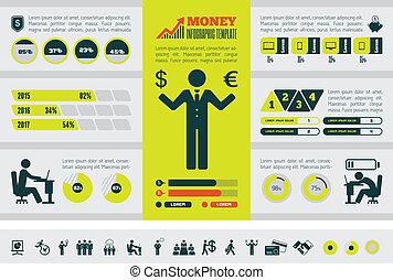 infographic, template., negócio