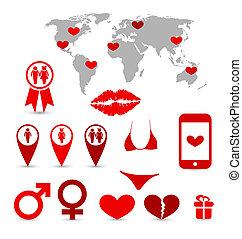 infographics, elementos, desenho, dia, valentine