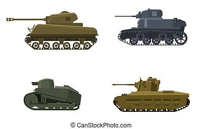 inglaterra, vista, exército, máquina, ilustração, tanque, isolado, símbolo americano, silueta, lado, arma militar, guerra, batalha, alemão, icon., vetorial, jogo, francês, guerra, 2., mundo