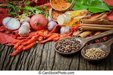 ingredients., alimento, cozinhar, -, tailandês, tast, tempero