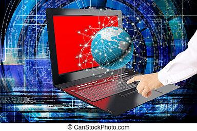 inovador, tecnologia computador, global, internet